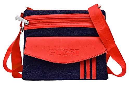 Tap Fashion Red Denim Sling Side Bag Cross Body Multi Pocket Purse for Women & Girls  available at amazon for Rs.349