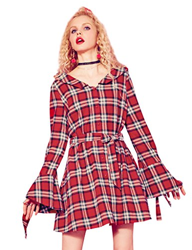 Elf Sack Womens Sommer V Kragen Lange Flared Ärmel Plaid Kleid Roter Plaid
