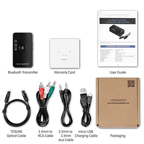 Bluetooth Transmitter for TV Audio LOW LATENCY by HomeSpot TV Ears Wireless Audio Adapter for Headphones