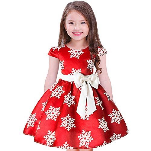 Dehots Baby Mädchen Weihnachts Kleider Weihnachten Tüll Xmas Weihnachtsparty Weihnachtskleid Bekleidung Kinder Kleinkind Festliche, Rot, Höhe: 100-110 cm