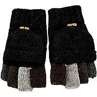 Butterme Uomini maglia di lana Cabrio Guanti senza dita Guanti Pugno guanto da guida con piega tasca posteriore (Nero)
