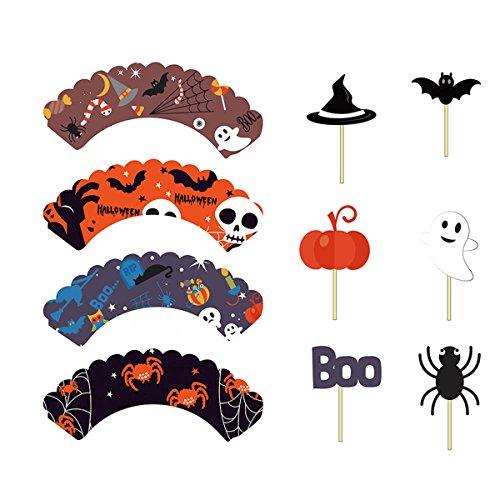 Amosfun 48pcs Halloween Cupcake Topper Cupcake Wrapper Cupcake Wrapper Geburtstag und Halloween Party Dekoration