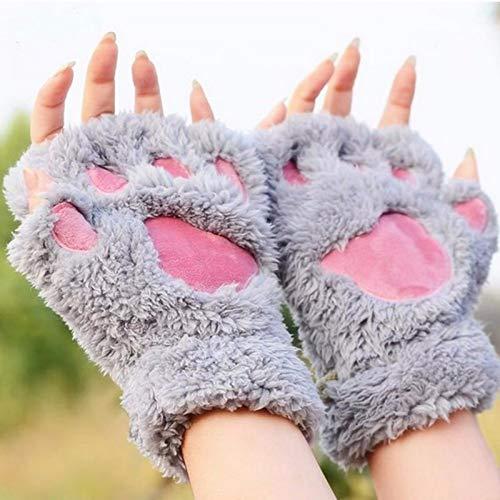 YsTmS Garra Kawaii Toallita Suave Lady'S Fingerless Femal Guantes Manoplas para Niñas Medio Dedo,Gris