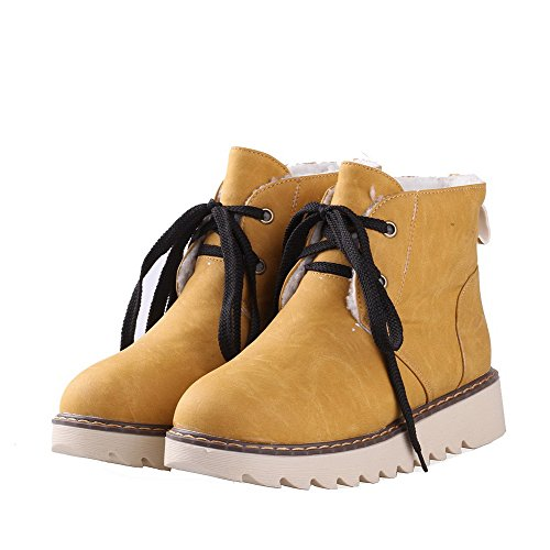 VogueZone009 Donna Luccichio Tacco Basso Punta Tonda Puro Allacciare Stivali Giallo
