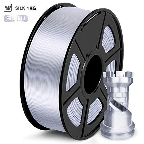 SUNLU PLA Silk Filament 1.75mm, 3d Drucker Filament 1.75 PLA 1KG Spool, PLA Silk Silber