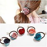 Asien-Casual Mode 5Pcs Mädchen Frauen Perlen Blume Haar Accessoires Haare Krawatten Haar Elastikzüge