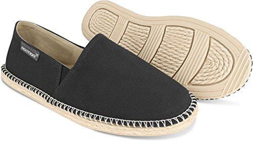 normani Sommer Schuhe - Klassische Espadrillas - Flache Stoffschuhe - Freizeitschuhe für Damen und Herren [Gr. 36-46] Farbe Schwarz Style 2 Größe 46 -