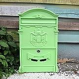 CXQ Europäischen Villa Briefkasten Im Freien Wasserdichte Brief Box Wand Kreative Briefkasten Vorschlag Box Retro Briefkasten Mit Schloss (Color : Matcha green)