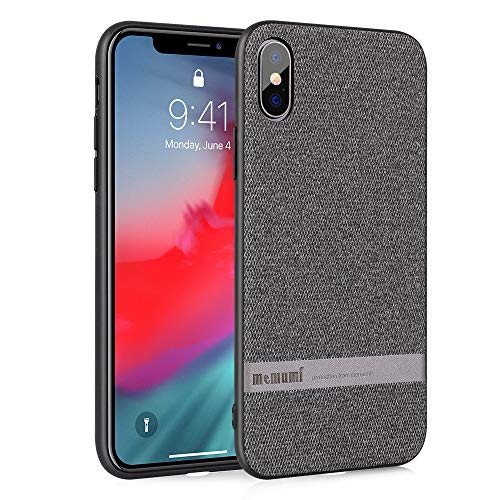 memumi Hülle für iPhone X, Leinen Schutzhülle,Anti-Fingerabdruck, Stößen Schutzhülle kompatibel mit iPhone X Case Cover (Grau-Version intensivieren [ TPU Rahmen ]) (iPhone X 5.8
