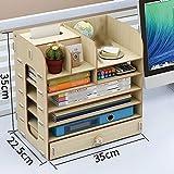 QFFL zhuomianshujia Desktop-Aufbewahrungsbox Holzschublade Bürobedarf mehrschichtiges Büro Regal Papierhandtuch (3 Farben, 2 Stile) Bücherregale (Farbe : Kirschholz, größe : 32 * 22.5 * 26cm)