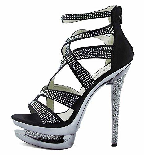 Schuhe Online Kaufen Günstig Hohe Damen Plateau Sandaletten Keilabsatz Absätze Sandelholz-Dame-Schuh-Plattform-Stilett-Bügel-Partei-Hochzeits-Größe UK 3-8 Stil 2 - Schwarz