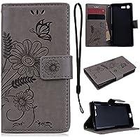 CE-Link für Sony X Compact Handyhülle Hülle Ledertasche Schutzhülle Leder Huelle mit Grau Schmetterling Blumen... preisvergleich bei billige-tabletten.eu