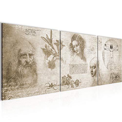 Bilder Werke von Leonardo Da Vinci Wandbild 120 x 40 cm Vlies - Leinwand Bild XXL Format Wandbilder Wohnzimmer Wohnung Deko Kunstdrucke Braun 3 Teile - MADE IN GERMANY - Fertig zum Aufhängen 700433a