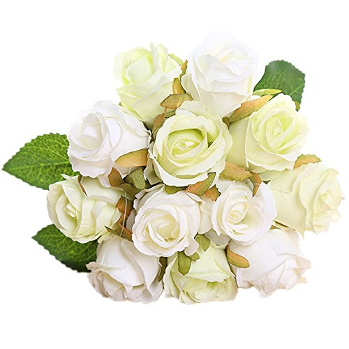 Felice arts seta artificiale fiori finti rose hand tied bouquet art piante confezione da 12 mazzo per home hotel office wedding party garden craft art decor cream