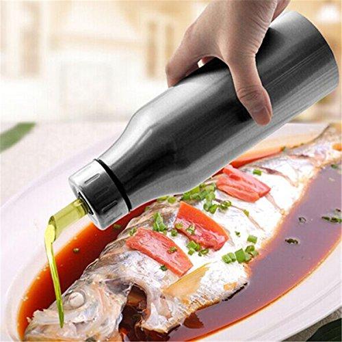 Bluelover Bottiglia Di Salsa in Acciaio Inox a Perfetta Tenuta Goccia Olio Aceto Cucina Strumenti 1000Ml - Acciaio Inox Porta Cerniere