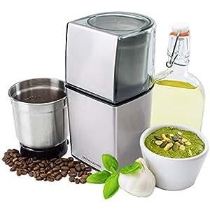 Moulin à Moudre / Mini Hachoir Andrew James – Interchangeable et compatible pour café, noix et épices – Moteur d'une puissance de 200 Watts + Lames en acier inoxydable
