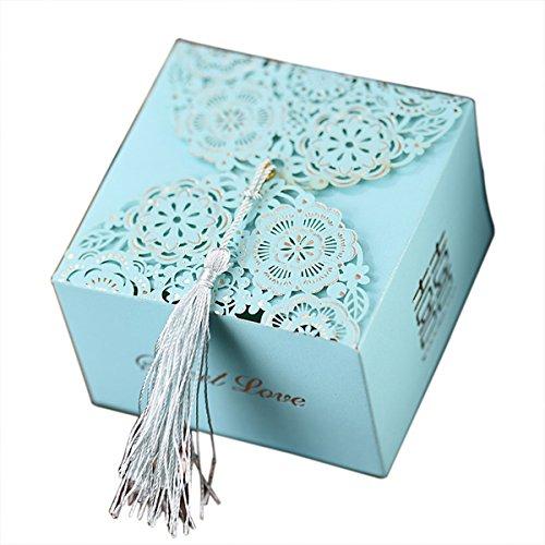 10pcs blaue Hochzeit Geschenke-Boxen Partei begünstigt kleine Babypartybevorzugungen mit doppeltem Glück (Bonbons oder Schokolade nicht enthalten)