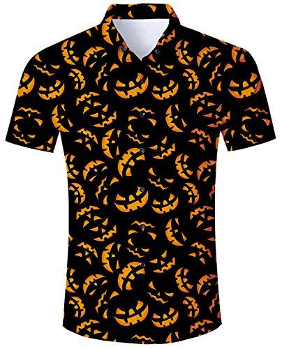 ALISISTER Halloween Shirts Herren Jungen 3D Coole Pumpkin Muster Halloween Festival Party Benutzerdefinierte Button Down Kurzarm Hemd XL