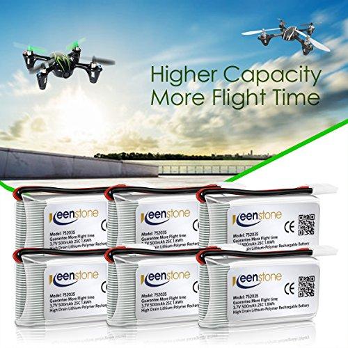 6 Stück Keenstone 3,7V 500mAh 25C LiPO Batterie mit 6-Port-Ladegerät für Hubsan X4 (H107 H107C H107D H107L V252 JXD385 F180C) 4 Kanal 2.4GHz RC QuadCopter Kompatibel mit Walkera Super CP - 6