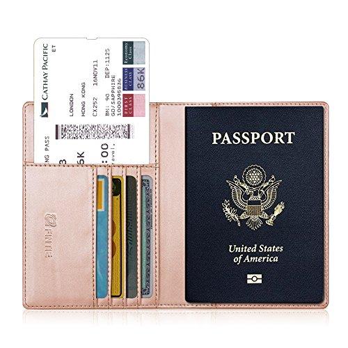 Fintie Porta Passaporto da Viaggio Portafoglio con Protezione RFID per Carte di credito ID Documenti Custodia - Oro rosa