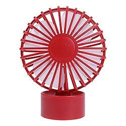 Rrimin USB Table Fan,Rechargeable Portable Desktop Fan Personal Quiet Fan (Red)