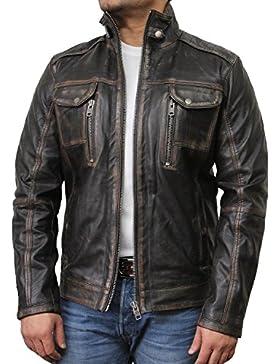 Brandslock para hombre chaqueta de motorista real cuero vendimia