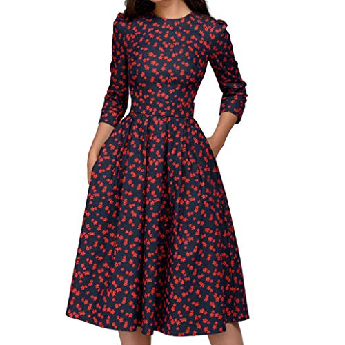 KUKICAT Damen Slim Fit Retro Partykleider Abendkeider Kleider elegant 50er Kurzarm Jahre Gepunkte Rockabilly Cocktailkleider