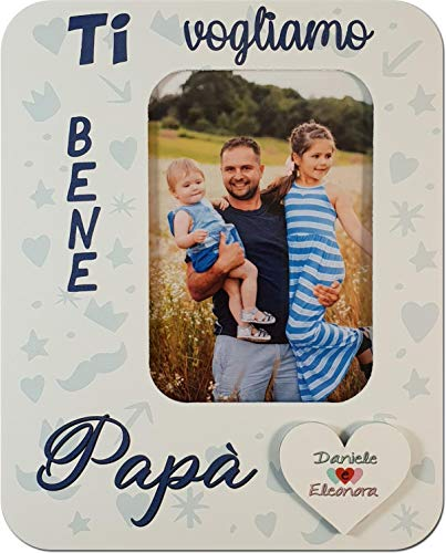 Portafoto festa del papà. arricchito con un cuoricino da personalizzare con i vostri nomi! misura foto 6x9 in legno bianco decorato
