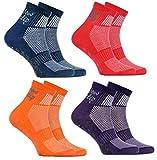 4 Paar ABS Sportliche ANTI-RUTSCH-Socken für KINDER – Atmende BAUMWOLLE – Glatter Fußboden, Trampoline, Gymnastik, Yoga, Kampfsport, Tanzen - Jeans Violett Orange Rot Pack| Größen: EU 30-35,