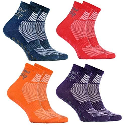 Rainbow Socks - Jungen Mädchen Sneaker Baumwolle Antirutsch Sport Stoppersocken - 4 Paar - Jeans Lila Orange Rot - Größen EU 24-29