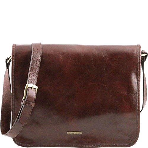 Tuscany Leather - TL Messenger - Sac bandoulière en cuir 2 compartiments - Grand modèle Marron - TL141254/1 Marron