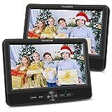 FANGOR Double Ecran Lecteur DVD Voiture pour Enfant 10,1 '' (1 Lecteur DVD et 1 Moniteur) Batterie Rechargeable Intégrée de 5 Heures, Prise en Charge USB/SD/AV in/AV Out
