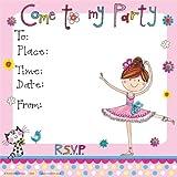 Rachel Ellen Designs - Biglietti di invito per feste, motivo: ballerina, confezione da 8