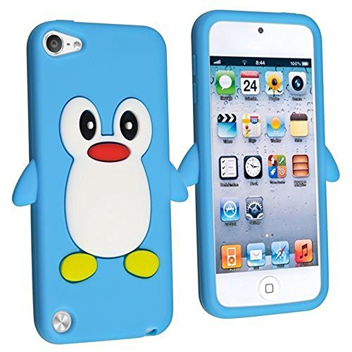 Tsmine Apple Ipod Touch 5. und 6. Generation Pinguin Cartoon Case - Cute 3D Penguin Soft Silikon zurück waschbar Cover Case Schutzhülle für iPod Touch 5. & 6. Generation, Hellblau (Silikon 3d Ipod 5 Fällen)