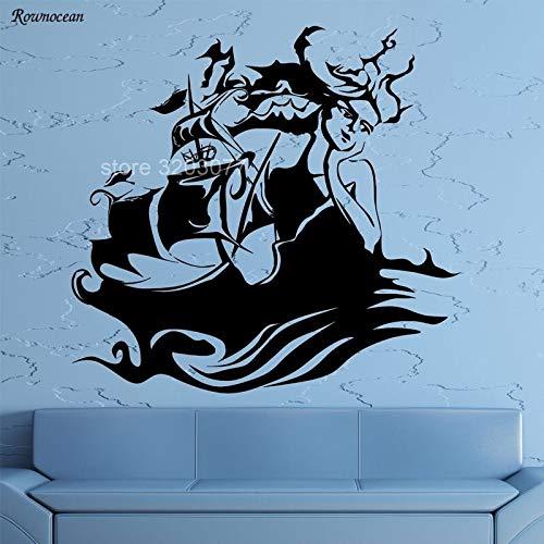 alicefen Nautische Dekoration Abstrakte Mädchen Gesicht Sirene Ozean Marine Schiff Meer Wandaufkleber Vinyl Aufkleber Wohnzimmer Selbstklebende Wand painting6 * 057 cm