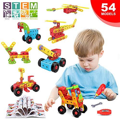 LUKAT lernspielzeug ab 3 Jahren, Kreativ Baustein Spielzeug für Kinder, DIY STEM Bausteine Set Kit 288 Stück Pädagogische Spielzeuge Geeignet für Jungen & Mädchen -Fördert Kreativität und Motorik