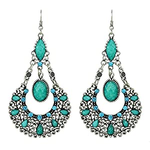 Feelontop® Modeschmuck Ethnic Vintage Style Silber Retro Legierung Imitation Edelstein Big Tropfen Ohrringe für Frauen mit Schmuckbeutel