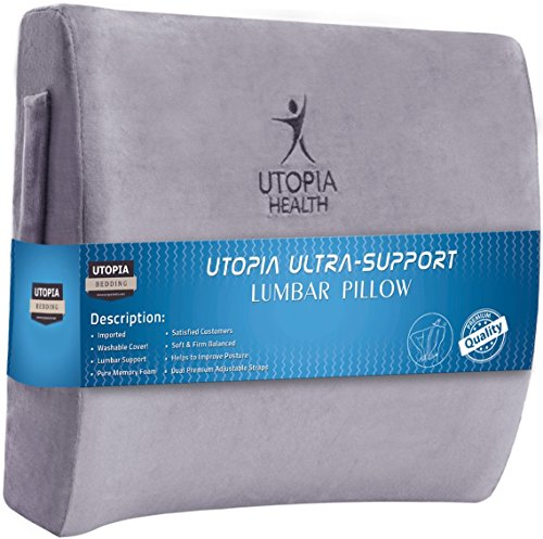 Memory Foam Lumbar Support Pillow great for office chair, car seat with Adjustable Dual Straps- Chair Pillow With Orthopedic Design for Back Pain Relief - by Utopia Bedding