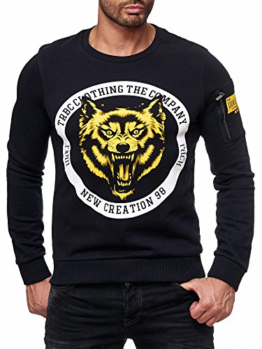 Redbridge Herren Pullover Sweatshirt TRBC Wild Wolf Baumwolle Sweater M2134 Schwarz