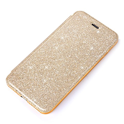 iPhone 6s Handyhülle, Luxus Strass Design CLTPY iPhone 6 Rose Blumen PU-Leather Wallet Case mit Crystal Clear Silicone Back & Bling Sparkly Plating Frame für Apple iPhone 6/6s + 1 x Freier Stift - Ros Gold