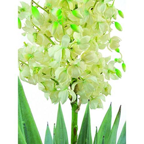 artplants – Künstliche Yucca Palme mit 40 Blättern, 120 Blüten, 220 cm, wetterfest – Deko Palmlilien Baum/Kunststoff Pflanze