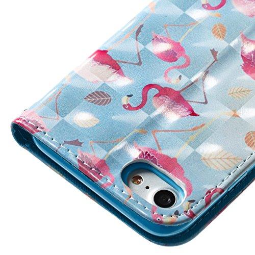 Funyye Custodia Per iPhone 7/iPhone 8 4.7 Cover Pelle Portafoglio Libro Copertura con [Gratis Pellicola Protettiva] Supporto Stand Porta Carte Chiusura Magnetica protettivo Caso Per Apple iPhone 7/iP Grande Flamingo