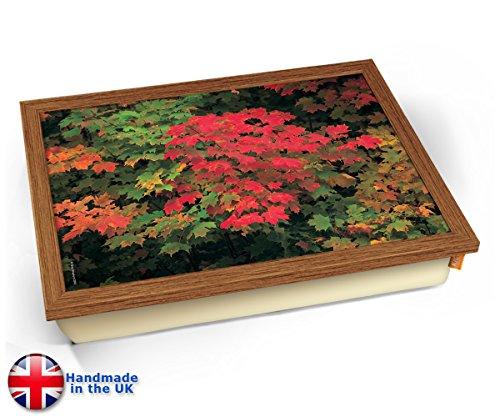 - Maple Leaves Autumn Fall Cushion Lap Tray Kissen Tablett Knietablett Kissentablett - Holz Effekt Rahmen