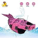 Nwayd Hunde-Schwimmweste,einstellbar,Hundebadeanzug-Schwimmweste,Hundegeschirr-Weste-Sommer-Kleidung(Rosa Fisch)