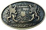 Brazil Lederwaren Gürtelschließe Doppellöwe mit Wappen 4,0 cm