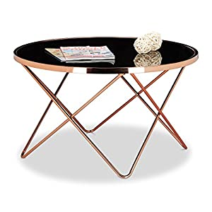 Relaxdays COPPER Side Table made of Copper and Black Glass, Size: 49 x 85 x 85 cm Modern Curved Table with Glass Surface…