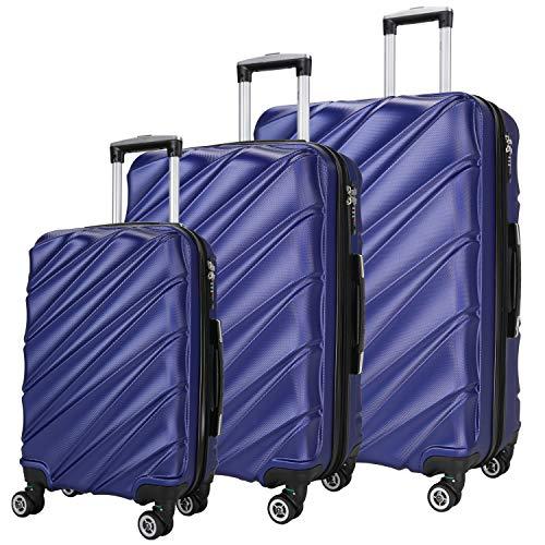SHAIK  Serie CANDY Design LHR 3 Größen M | L | XL | Set | Hartschalen Kofferset 40/78/124 Liter, 4 Doppelrollen, 25% mehr Volumen durch Dehnfalte Zahlenschloss (Dunkelblau)