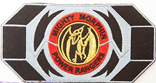 Power Rangers Embroidered Iron on Patch/Pink Ranger Morpher Gürtelschnalle Badge Pterodaktylus Aufnäher Kostüm Fancy Kleid Motiv Sammlerstück (White Power Ranger Kostüm)