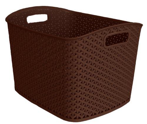CURVER 209489 Aufbewahrungskorb, stapelbar, Polypropylen, Rattan-Optik, XL