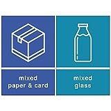 Aufkleber für Mülltrennung International - Set aus 2 Stickern - mixed paper & card (Blau) & mixed glass (Petrol) - 2 x 150 mm x 100 mm - UV-Lack glänzend - Indoor/Outdoor